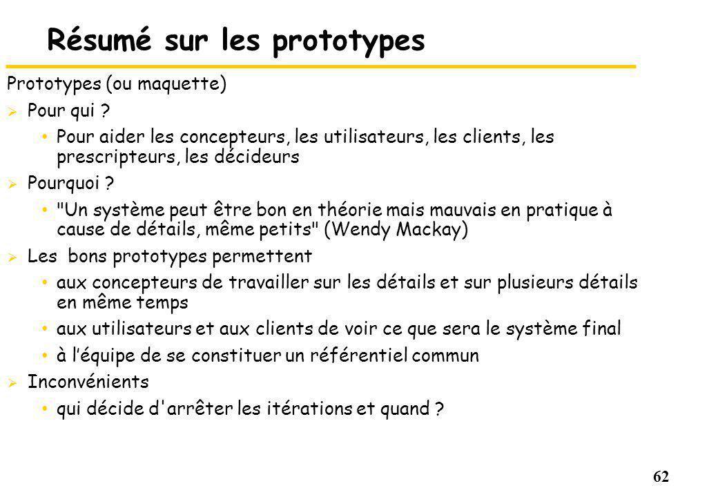 62 Résumé sur les prototypes Prototypes (ou maquette) Pour qui .