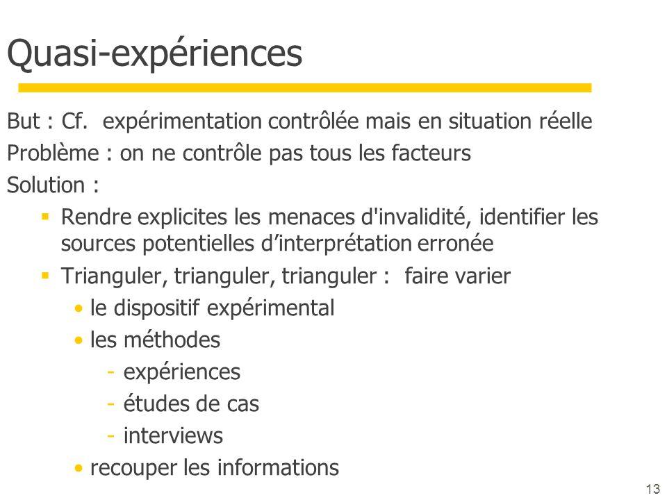 13 Quasi-expériences But : Cf. expérimentation contrôlée mais en situation réelle Problème : on ne contrôle pas tous les facteurs Solution : Rendre ex