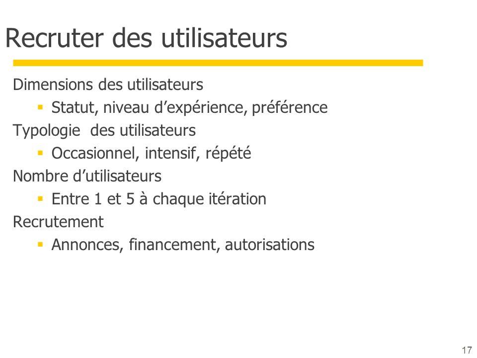 17 Recruter des utilisateurs Dimensions des utilisateurs Statut, niveau dexpérience, préférence Typologie des utilisateurs Occasionnel, intensif, répé