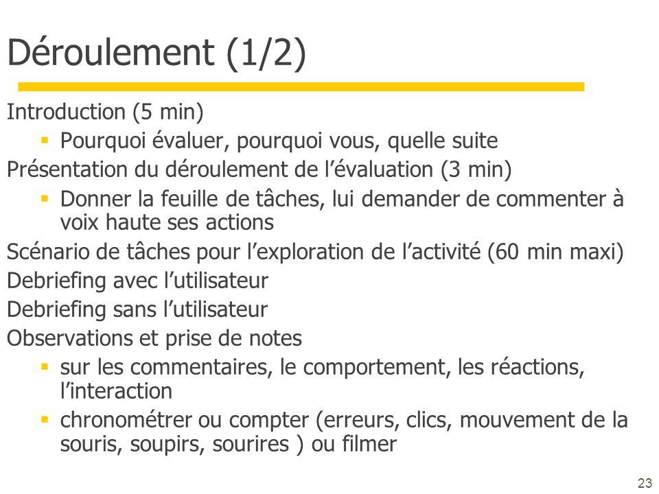 23 Déroulement (1/2) Introduction (5 min) Pourquoi évaluer, pourquoi vous, quelle suite Présentation du déroulement de lévaluation (3 min) Donner la f