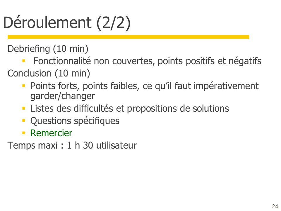 24 Déroulement (2/2) Debriefing (10 min) Fonctionnalité non couvertes, points positifs et négatifs Conclusion (10 min) Points forts, points faibles, c