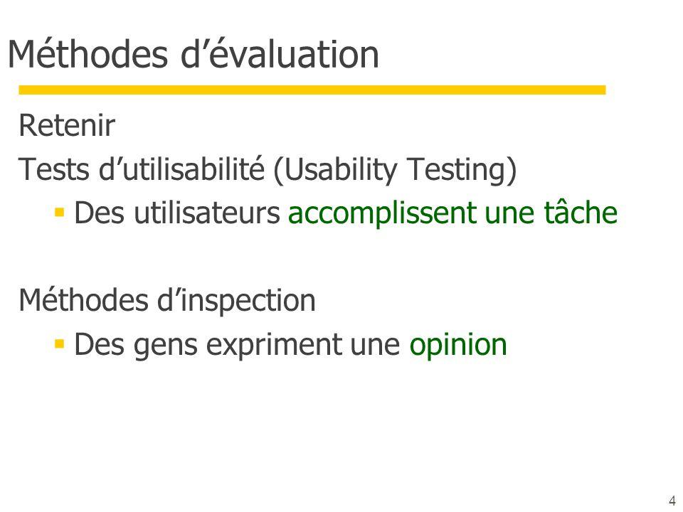 4 Méthodes dévaluation Retenir Tests dutilisabilité (Usability Testing) Des utilisateurs accomplissent une tâche Méthodes dinspection Des gens exprime
