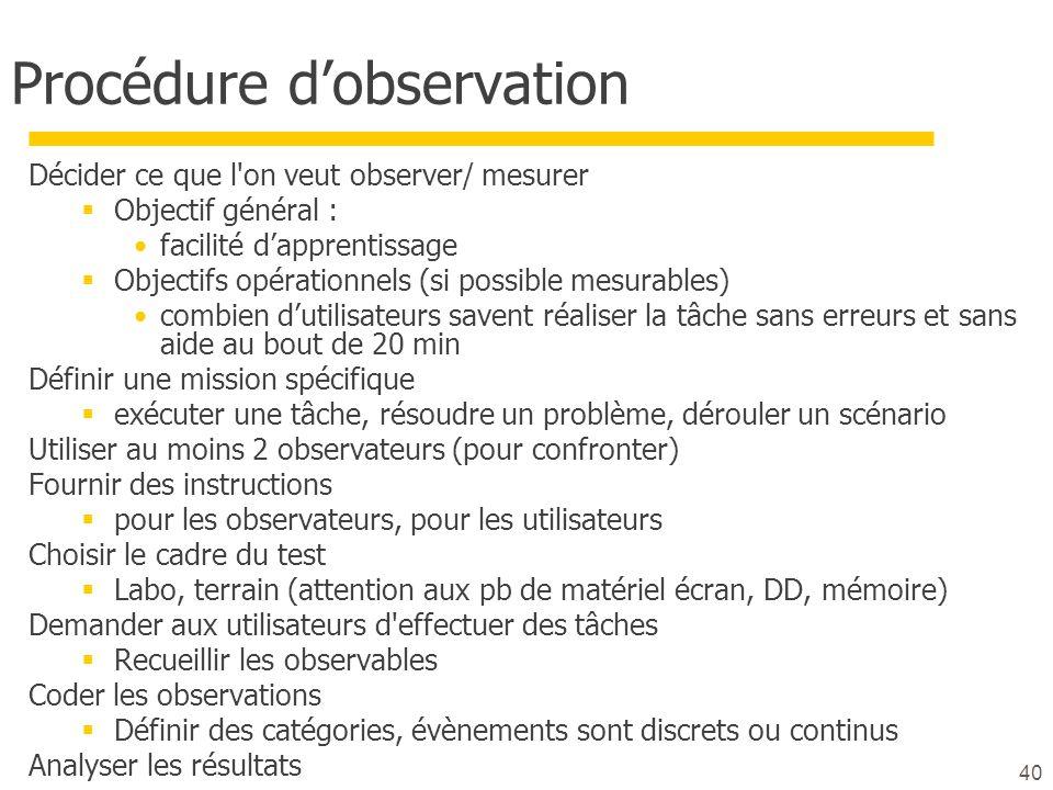 40 Procédure dobservation Décider ce que l'on veut observer/ mesurer Objectif général : facilité dapprentissage Objectifs opérationnels (si possible m