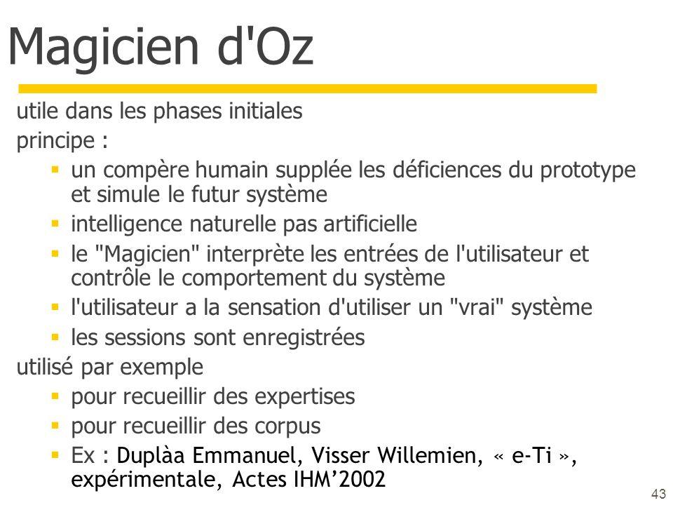 43 Magicien d'Oz utile dans les phases initiales principe : un compère humain supplée les déficiences du prototype et simule le futur système intellig