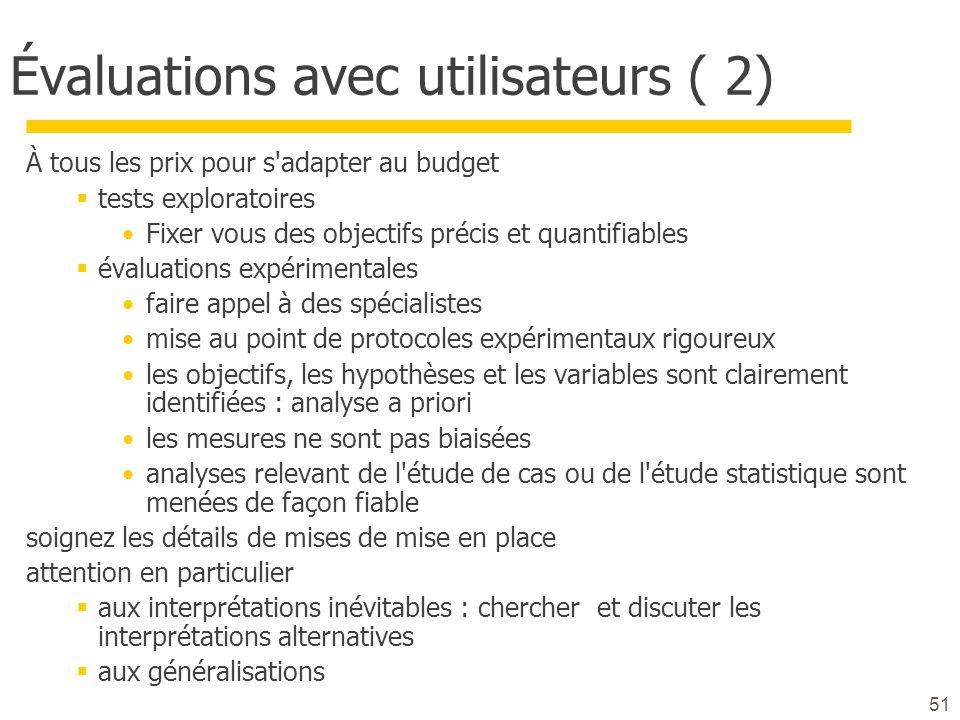 51 Évaluations avec utilisateurs ( 2) À tous les prix pour s'adapter au budget tests exploratoires Fixer vous des objectifs précis et quantifiables év