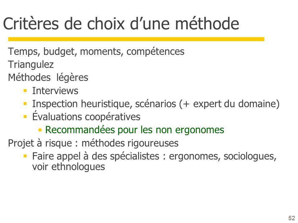 52 Critères de choix dune méthode Temps, budget, moments, compétences Triangulez Méthodes légères Interviews Inspection heuristique, scénarios (+ expe
