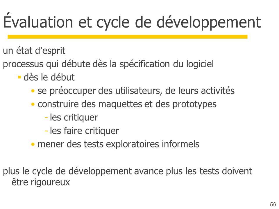 56 Évaluation et cycle de développement un état d'esprit processus qui débute dès la spécification du logiciel dès le début se préoccuper des utilisat