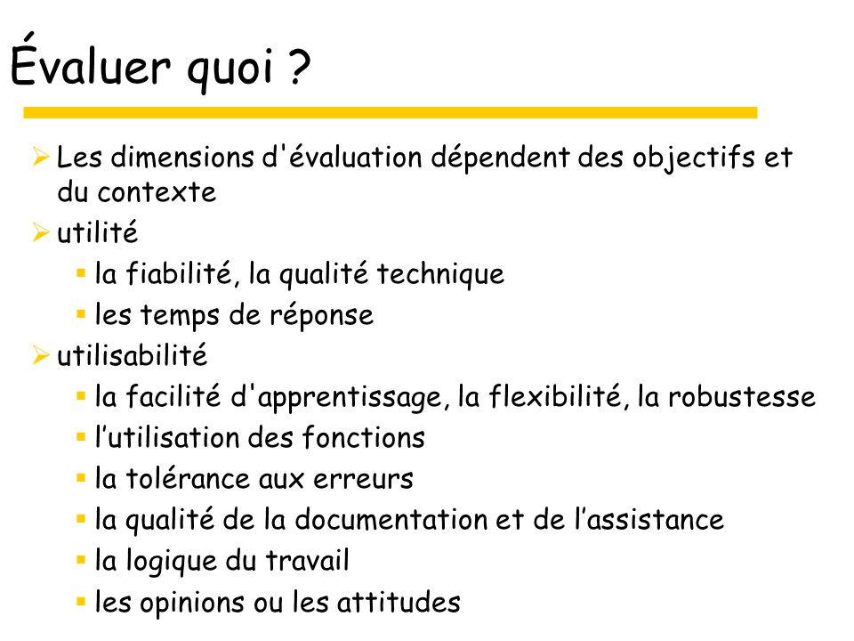 Évaluer quoi ? Les dimensions d'évaluation dépendent des objectifs et du contexte utilité la fiabilité, la qualité technique les temps de réponse util