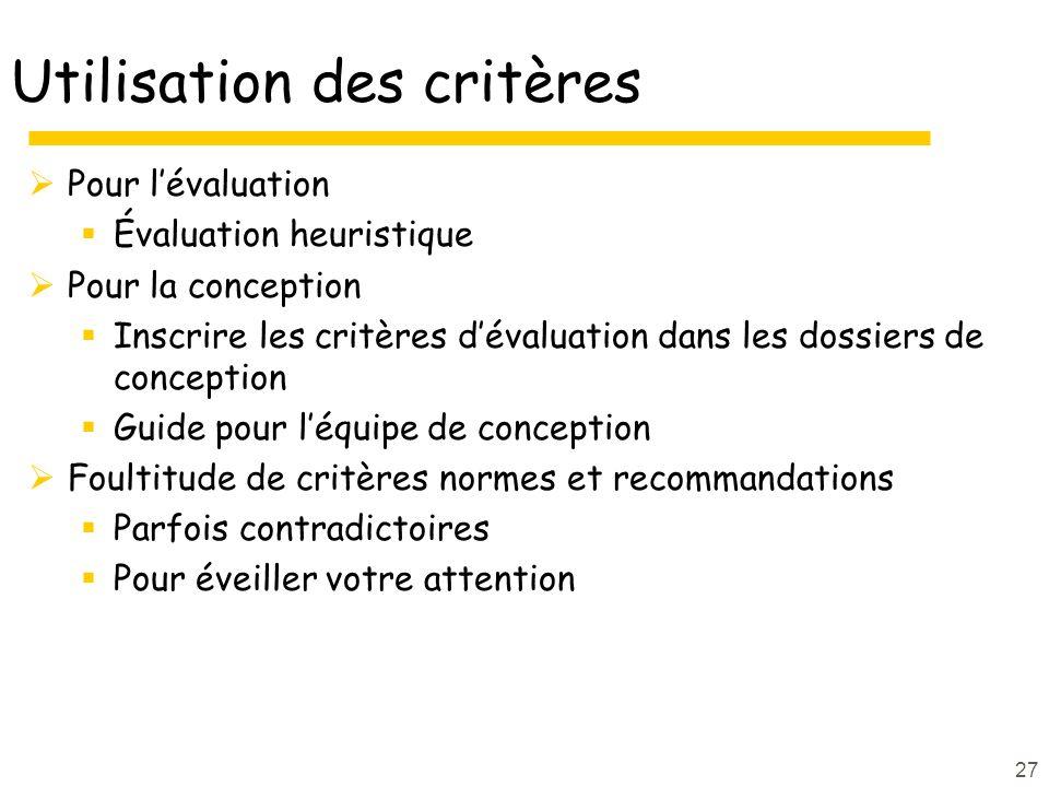 27 Utilisation des critères Pour lévaluation Évaluation heuristique Pour la conception Inscrire les critères dévaluation dans les dossiers de concepti