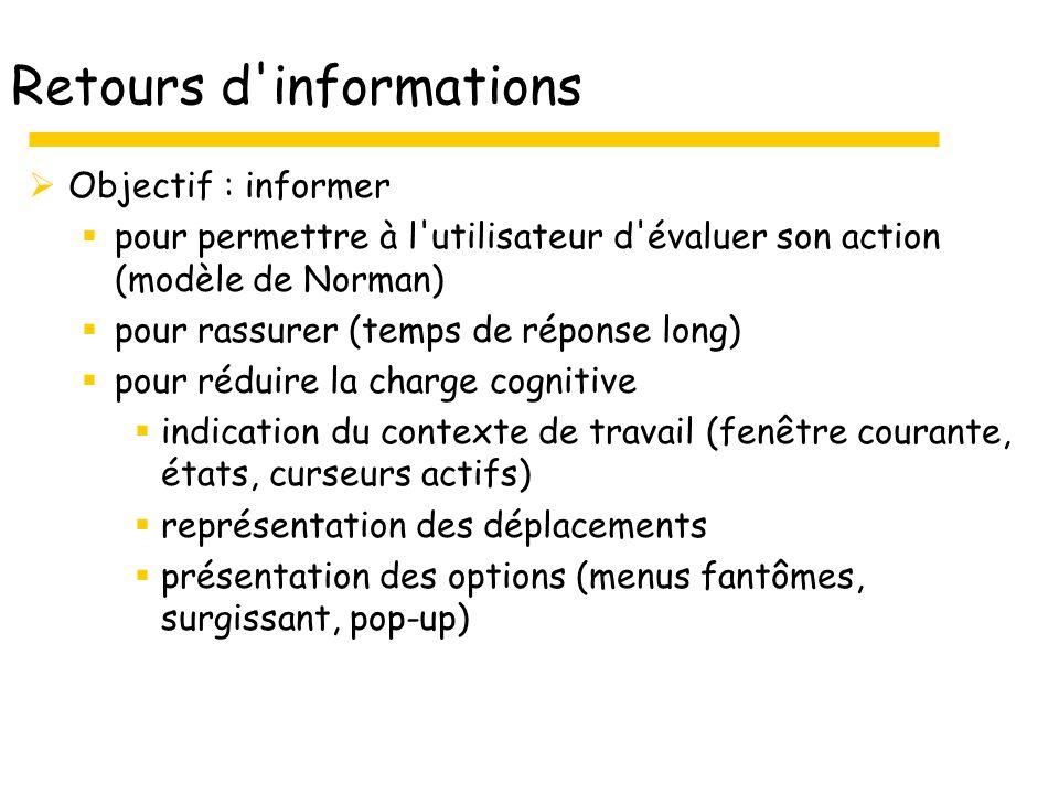 Retours d'informations Objectif : informer pour permettre à l'utilisateur d'évaluer son action (modèle de Norman) pour rassurer (temps de réponse long