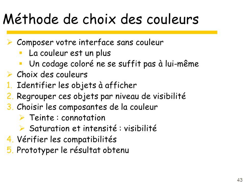 43 Méthode de choix des couleurs Composer votre interface sans couleur La couleur est un plus Un codage coloré ne se suffit pas à lui-même Choix des c