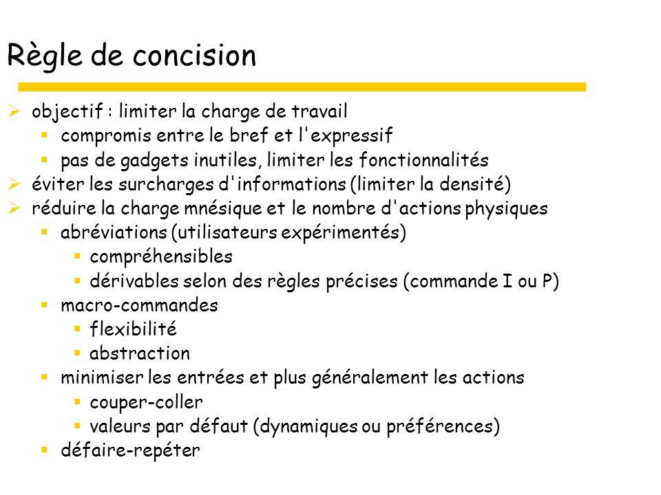 Règle de concision objectif : limiter la charge de travail compromis entre le bref et l'expressif pas de gadgets inutiles, limiter les fonctionnalités