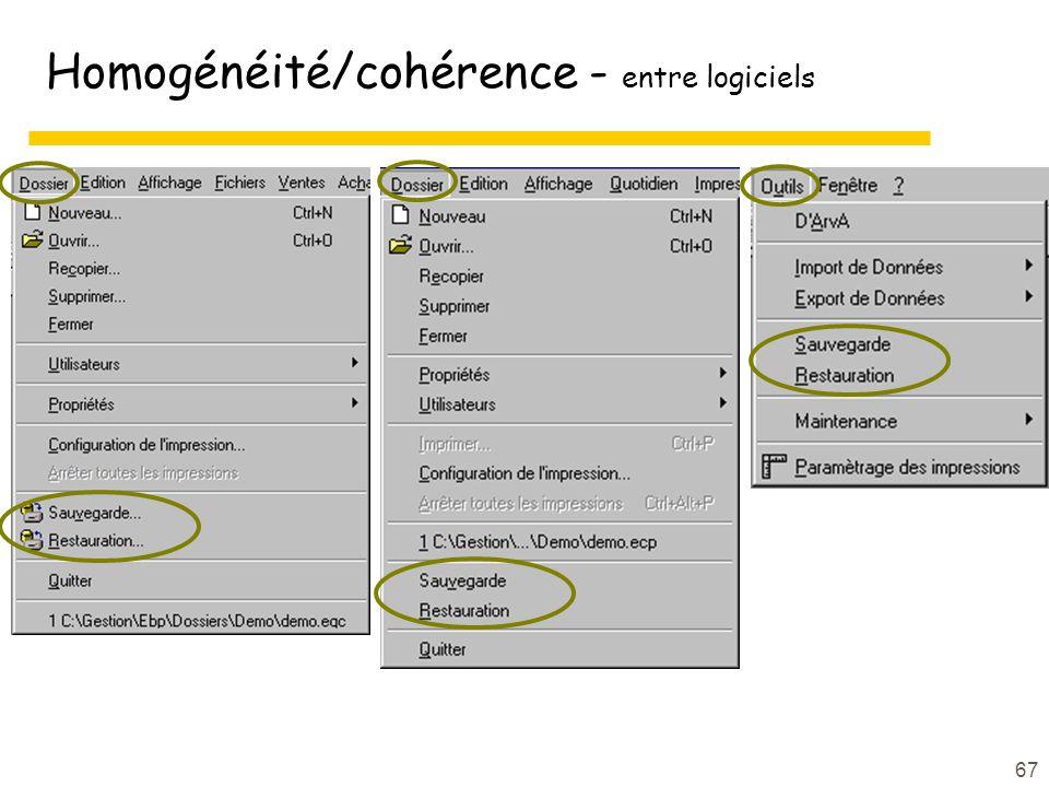 67 Homogénéité/cohérence - entre logiciels