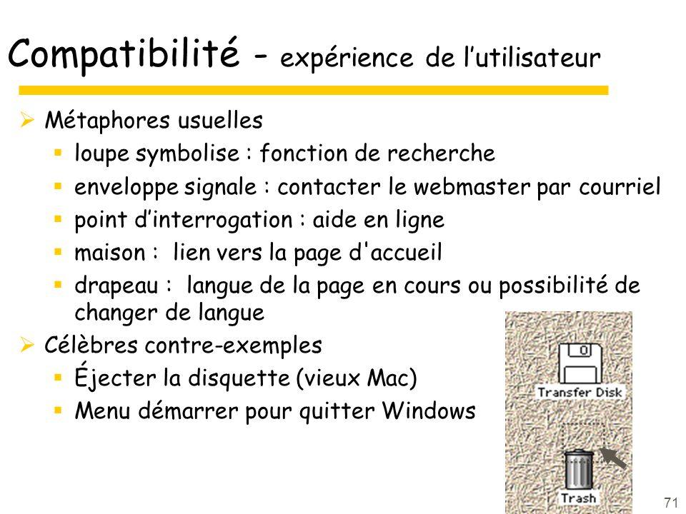 71 Compatibilité - expérience de lutilisateur Métaphores usuelles loupe symbolise : fonction de recherche enveloppe signale : contacter le webmaster p