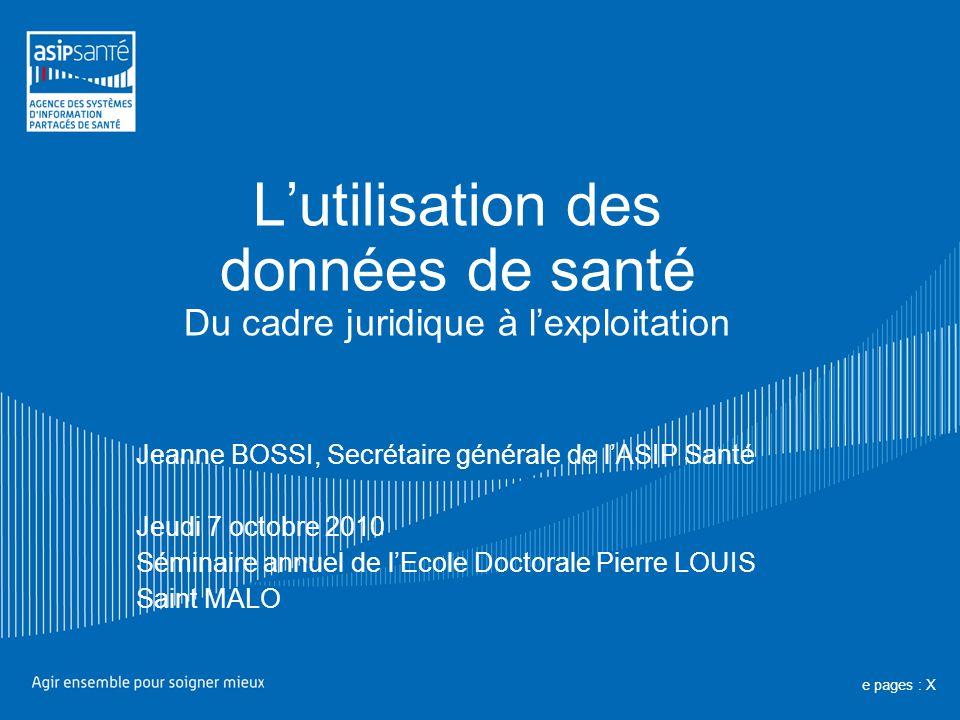 Lutilisation des données de santé Du cadre juridique à lexploitation Jeanne BOSSI, Secrétaire générale de lASIP Santé Jeudi 7 octobre 2010 Séminaire a