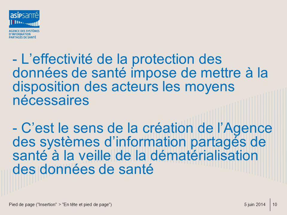 - Leffectivité de la protection des données de santé impose de mettre à la disposition des acteurs les moyens nécessaires - Cest le sens de la créatio