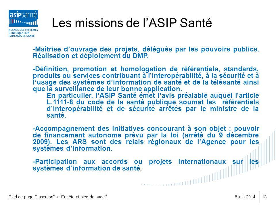 Les missions de lASIP Santé 5 juin 2014Pied de page (