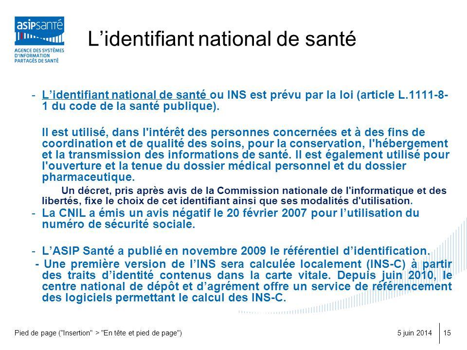 Lidentifiant national de santé -Lidentifiant national de santé ou INS est prévu par la loi (article L.1111-8- 1 du code de la santé publique). Il est