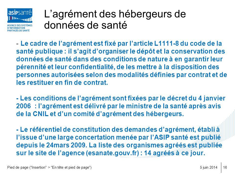 Lagrément des hébergeurs de données de santé - Le cadre de lagrément est fixé par larticle L1111-8 du code de la santé publique : il sagit dorganiser