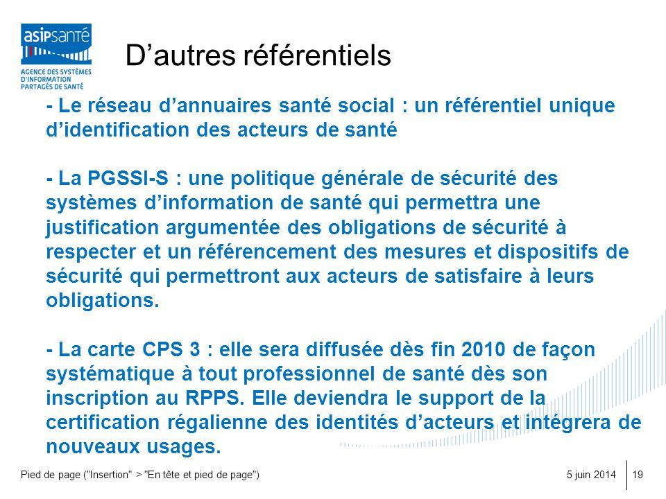 Dautres référentiels - Le réseau dannuaires santé social : un référentiel unique didentification des acteurs de santé - La PGSSI-S : une politique gén