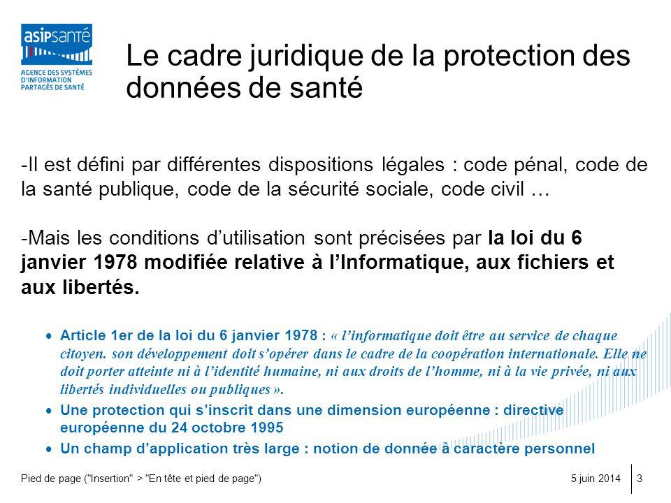 Le cadre juridique de la protection des données de santé -Il est défini par différentes dispositions légales : code pénal, code de la santé publique,
