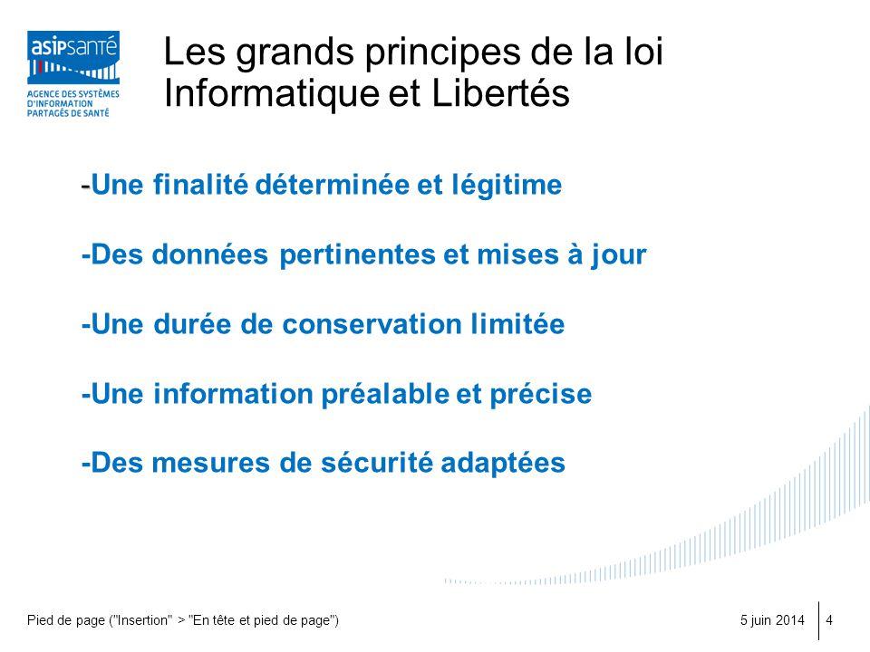 Les grands principes de la loi Informatique et Libertés 5 juin 2014Pied de page (