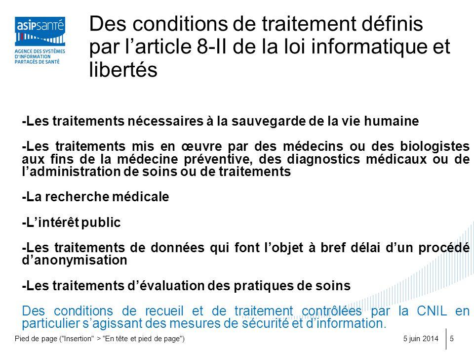 Des conditions de traitement définis par larticle 8-II de la loi informatique et libertés 5 juin 2014Pied de page (
