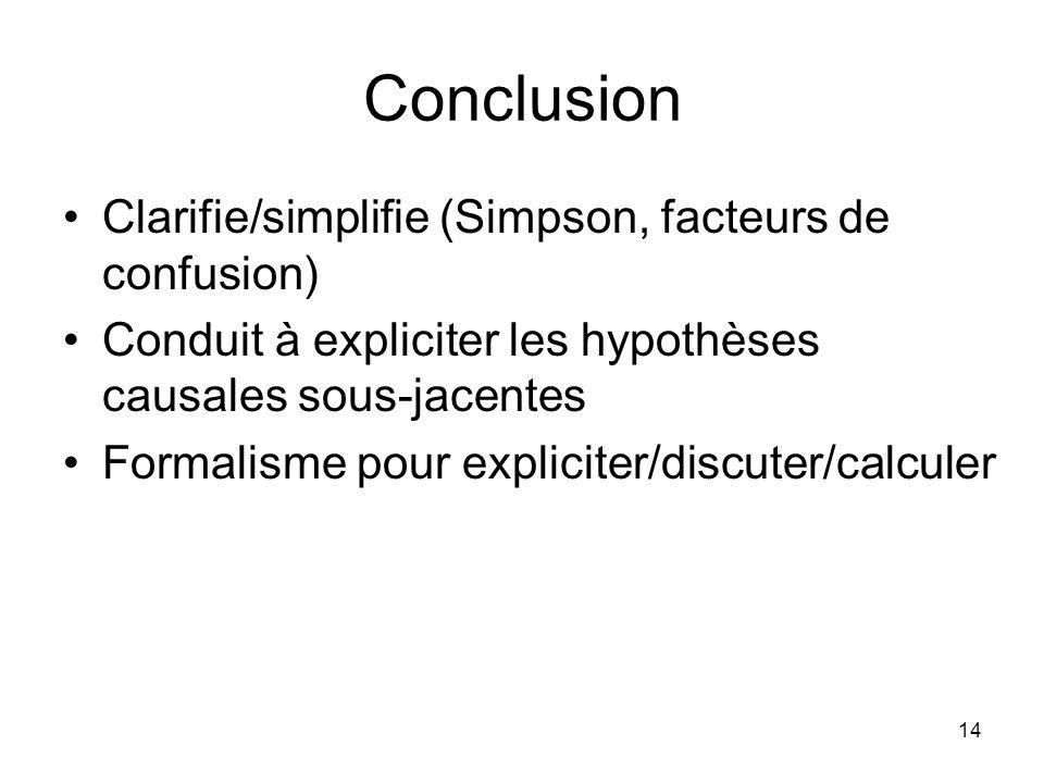 14 Conclusion Clarifie/simplifie (Simpson, facteurs de confusion) Conduit à expliciter les hypothèses causales sous-jacentes Formalisme pour expliciter/discuter/calculer