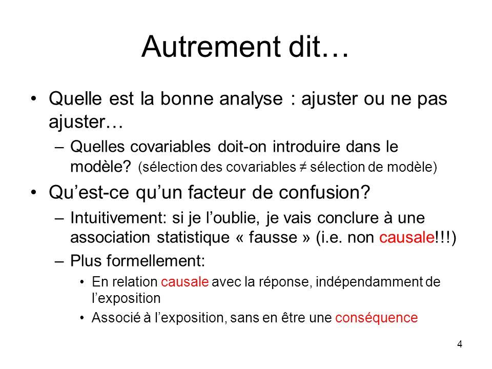 Autrement dit… Quelle est la bonne analyse : ajuster ou ne pas ajuster… –Quelles covariables doit-on introduire dans le modèle.