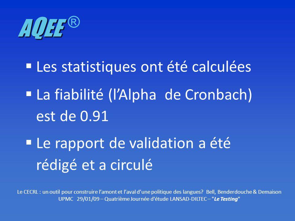 Les statistiques ont été calculées La fiabilité (lAlpha de Cronbach) est de 0.91 Le rapport de validation a été rédigé et a circulé Le CECRL : un outil pour construire lamont et laval dune politique des langues.