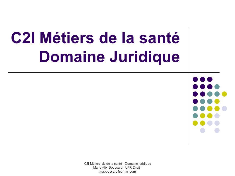 C2I Métiers de de la santé - Domaine juridique Marie-Alix Boussard - UFR Droit - maboussard@gmail.com C2I Métiers de la santé Domaine Juridique