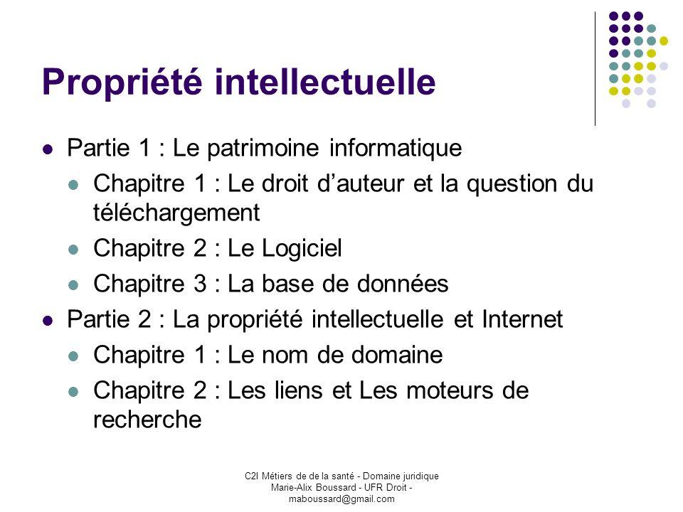 C2I Métiers de de la santé - Domaine juridique Marie-Alix Boussard - UFR Droit - maboussard@gmail.com Propriété intellectuelle Partie 1 : Le patrimoin