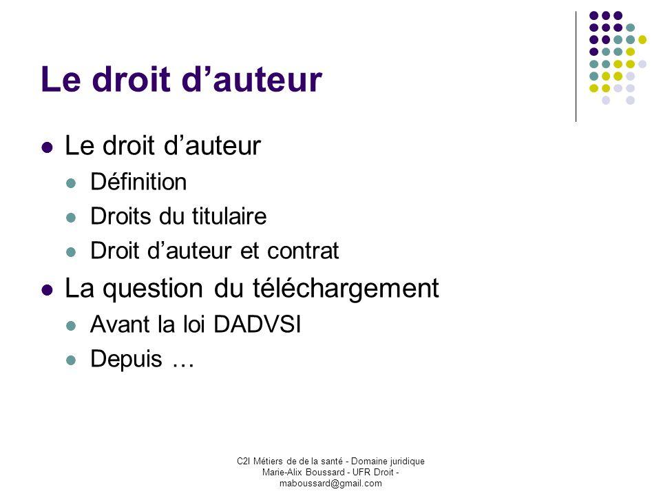 C2I Métiers de de la santé - Domaine juridique Marie-Alix Boussard - UFR Droit - maboussard@gmail.com Le droit dauteur Définition Droits du titulaire