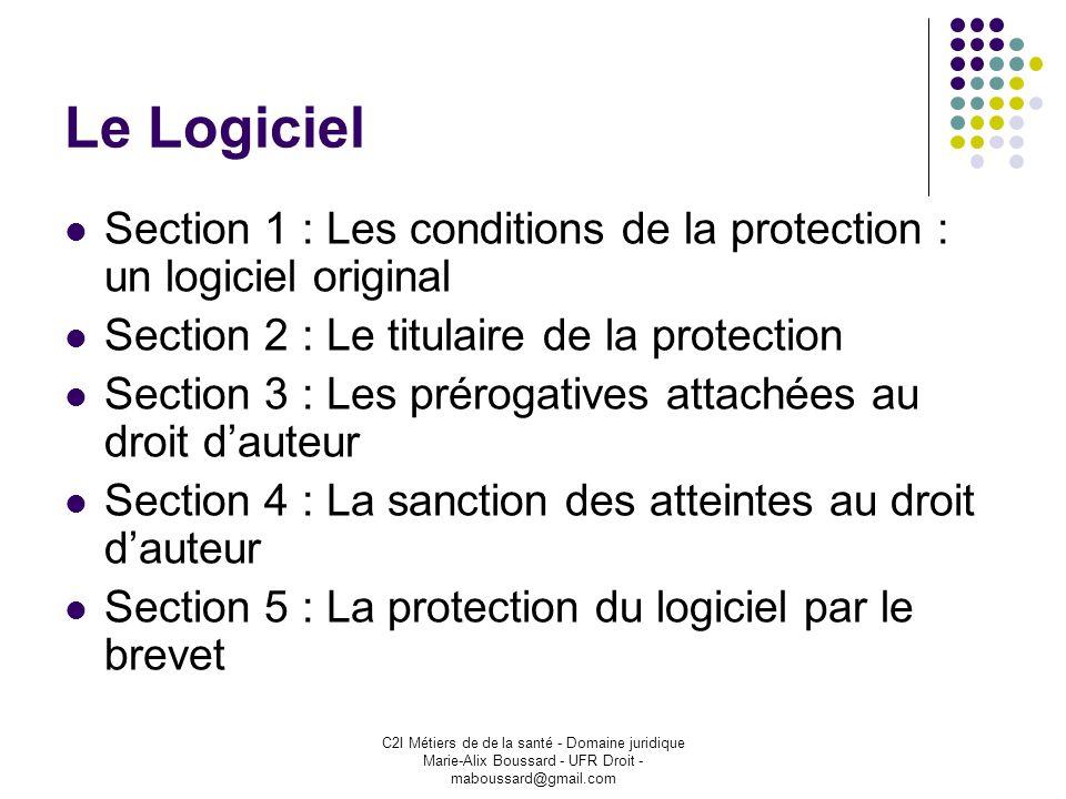 C2I Métiers de de la santé - Domaine juridique Marie-Alix Boussard - UFR Droit - maboussard@gmail.com Le Logiciel Section 1 : Les conditions de la pro