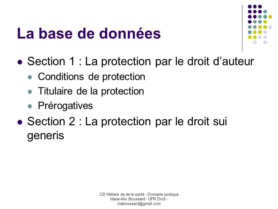 C2I Métiers de de la santé - Domaine juridique Marie-Alix Boussard - UFR Droit - maboussard@gmail.com La base de données Section 1 : La protection par