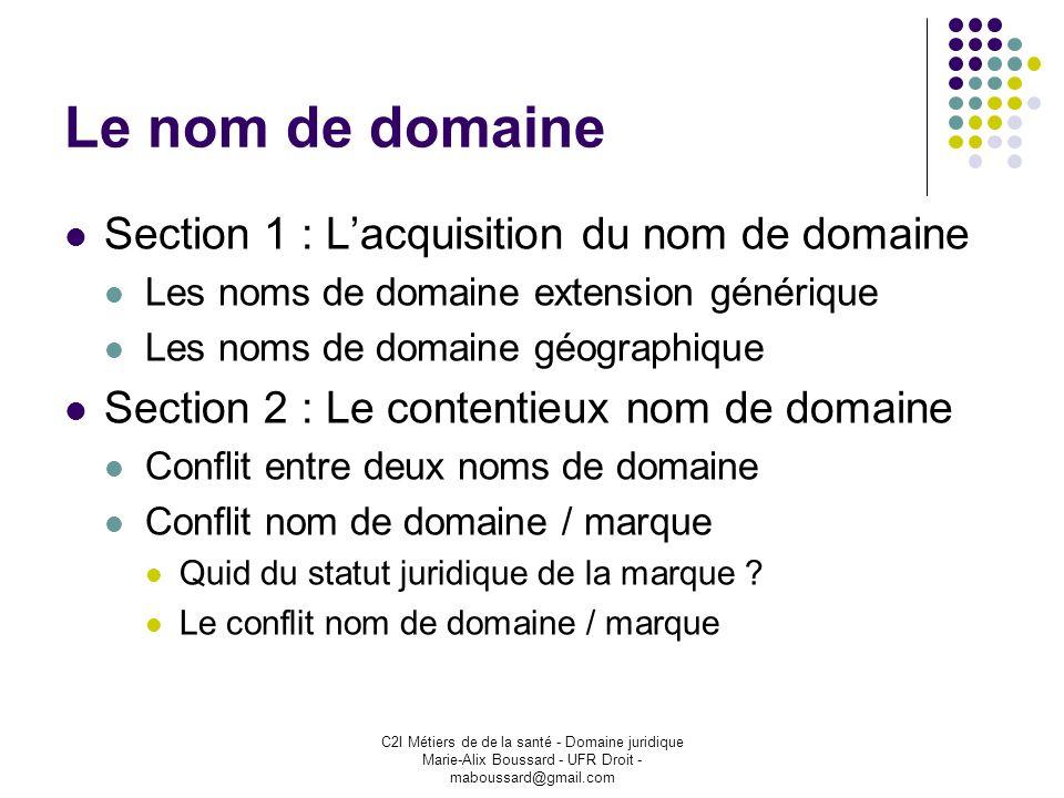C2I Métiers de de la santé - Domaine juridique Marie-Alix Boussard - UFR Droit - maboussard@gmail.com Le nom de domaine Section 1 : Lacquisition du no