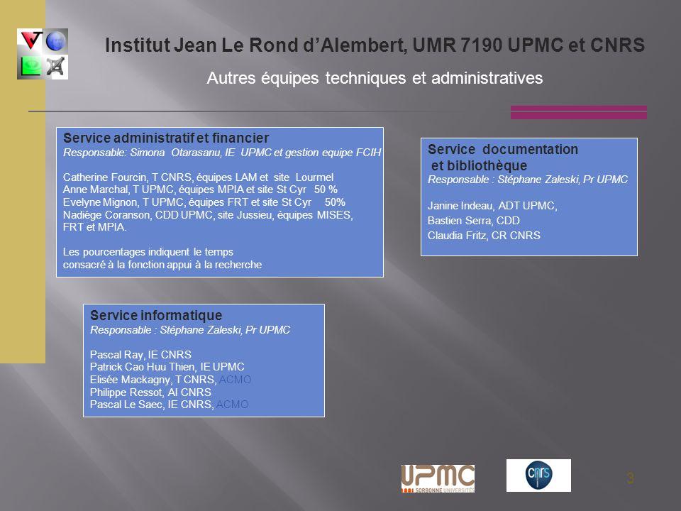 3 Service administratif et financier Responsable: Simona Otarasanu, IE UPMC et gestion equipe FCIH Catherine Fourcin, T CNRS, équipes LAM et site Lour