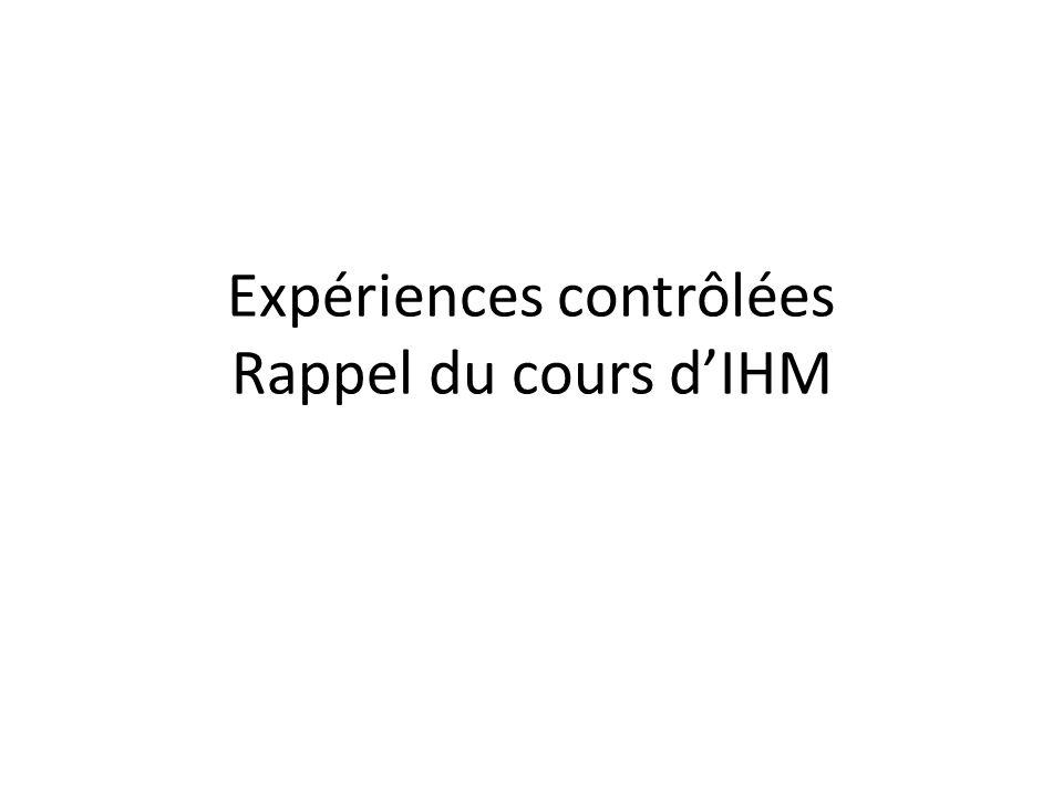 Expériences contrôlées Rappel du cours dIHM