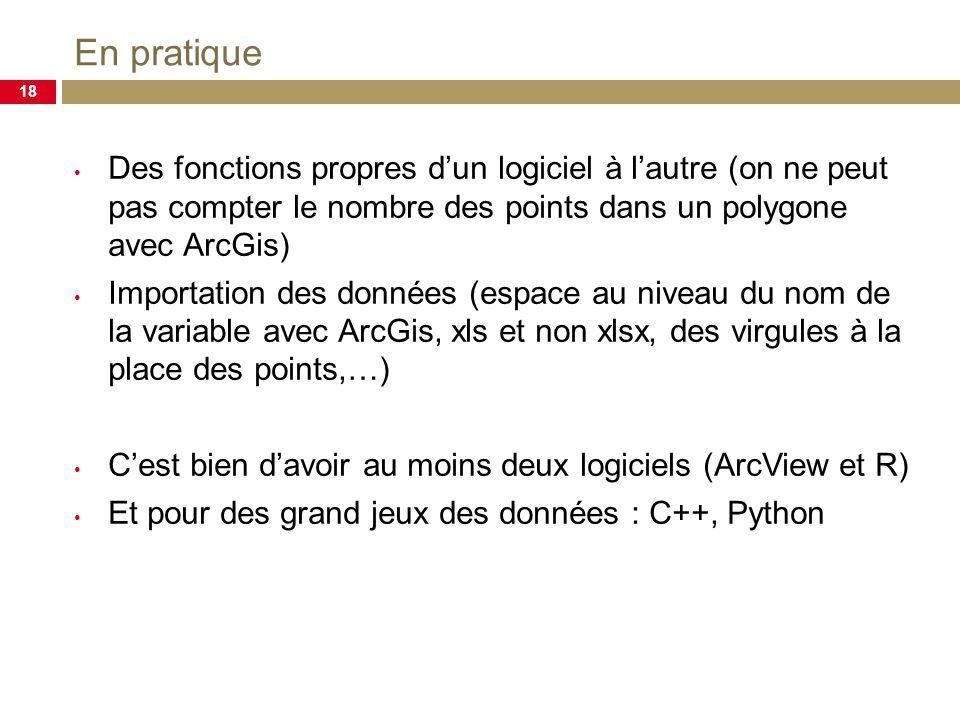 En pratique 18 Des fonctions propres dun logiciel à lautre (on ne peut pas compter le nombre des points dans un polygone avec ArcGis) Importation des données (espace au niveau du nom de la variable avec ArcGis, xls et non xlsx, des virgules à la place des points,…) Cest bien davoir au moins deux logiciels (ArcView et R) Et pour des grand jeux des données : C++, Python