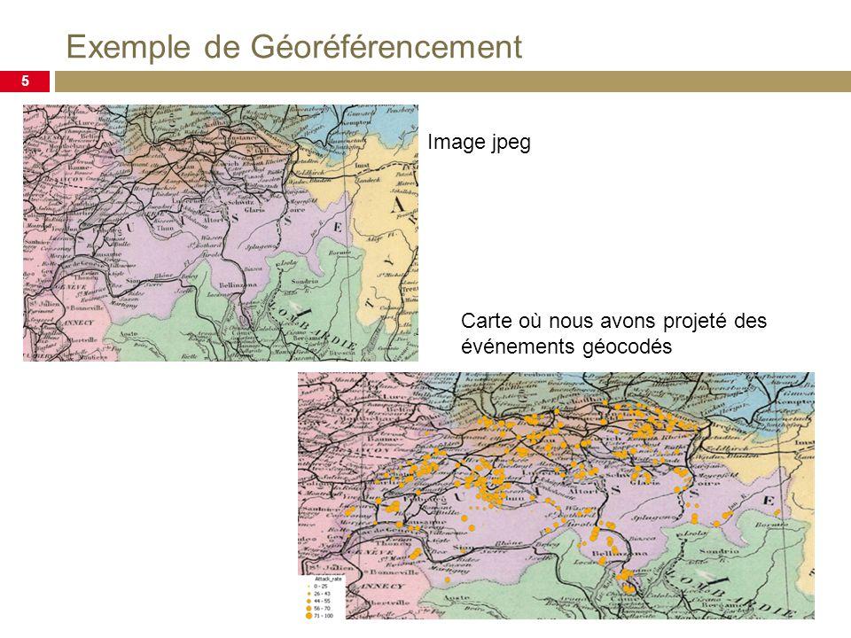 Exemple de Géoréférencement 5 Image jpeg Carte où nous avons projeté des événements géocodés