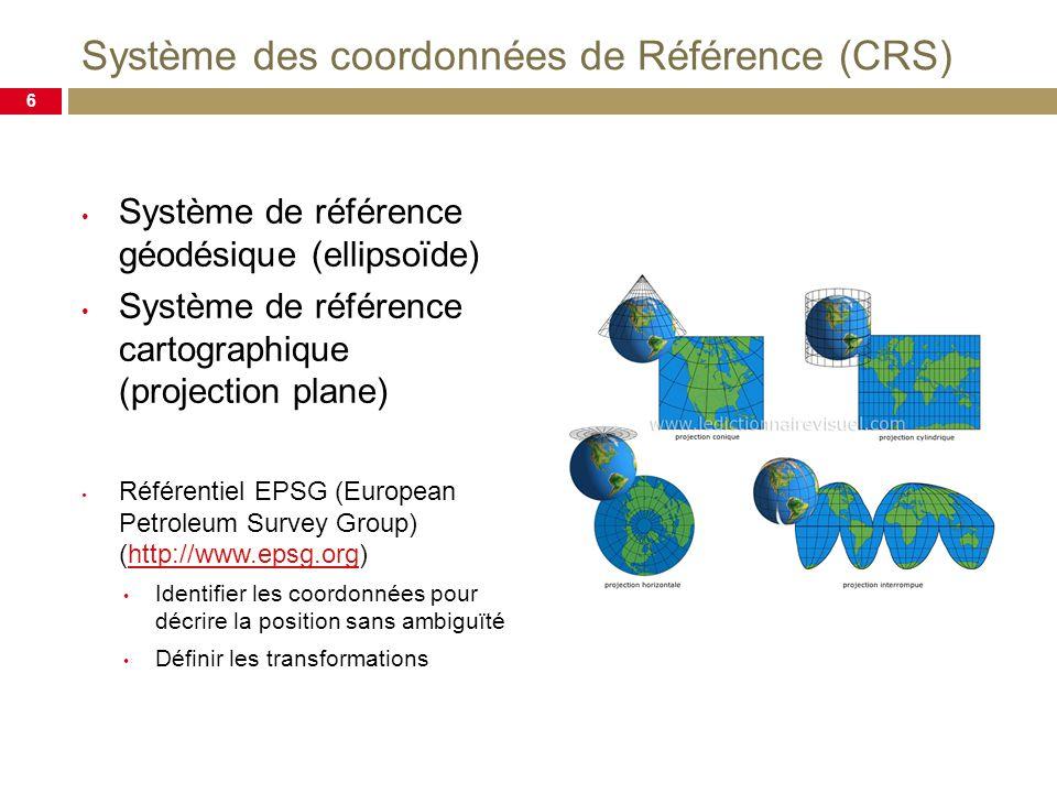 Système des coordonnées de Référence (CRS) Système de référence géodésique (ellipsoïde) Système de référence cartographique (projection plane) Référentiel EPSG (European Petroleum Survey Group) (http://www.epsg.org)http://www.epsg.org Identifier les coordonnées pour décrire la position sans ambiguïté Définir les transformations 6
