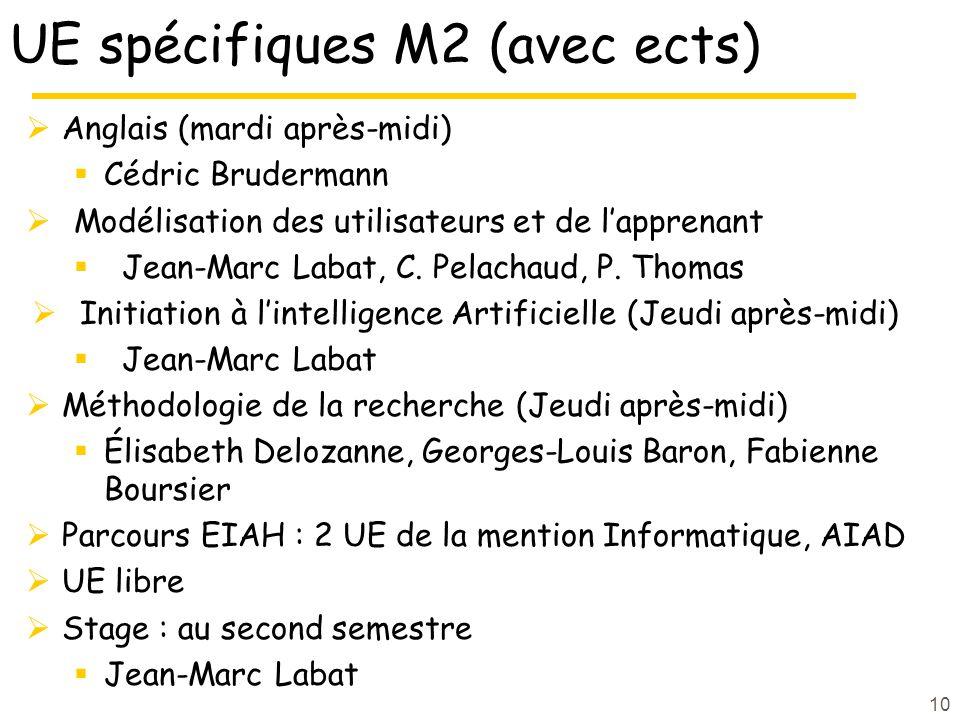 UE spécifiques M2 (avec ects) Anglais (mardi après-midi) Cédric Brudermann Modélisation des utilisateurs et de lapprenant Jean-Marc Labat, C.