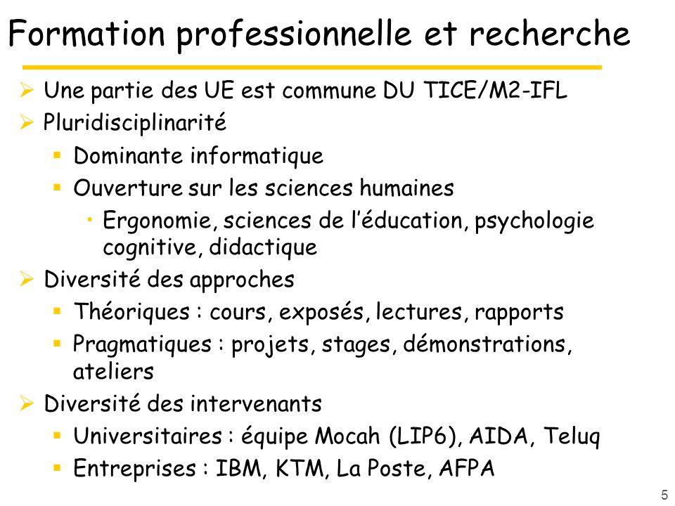 Formation professionnelle et recherche Une partie des UE est commune DU TICE/M2-IFL Pluridisciplinarité Dominante informatique Ouverture sur les sciences humaines Ergonomie, sciences de léducation, psychologie cognitive, didactique Diversité des approches Théoriques : cours, exposés, lectures, rapports Pragmatiques : projets, stages, démonstrations, ateliers Diversité des intervenants Universitaires : équipe Mocah (LIP6), AIDA, Teluq Entreprises : IBM, KTM, La Poste, AFPA 5
