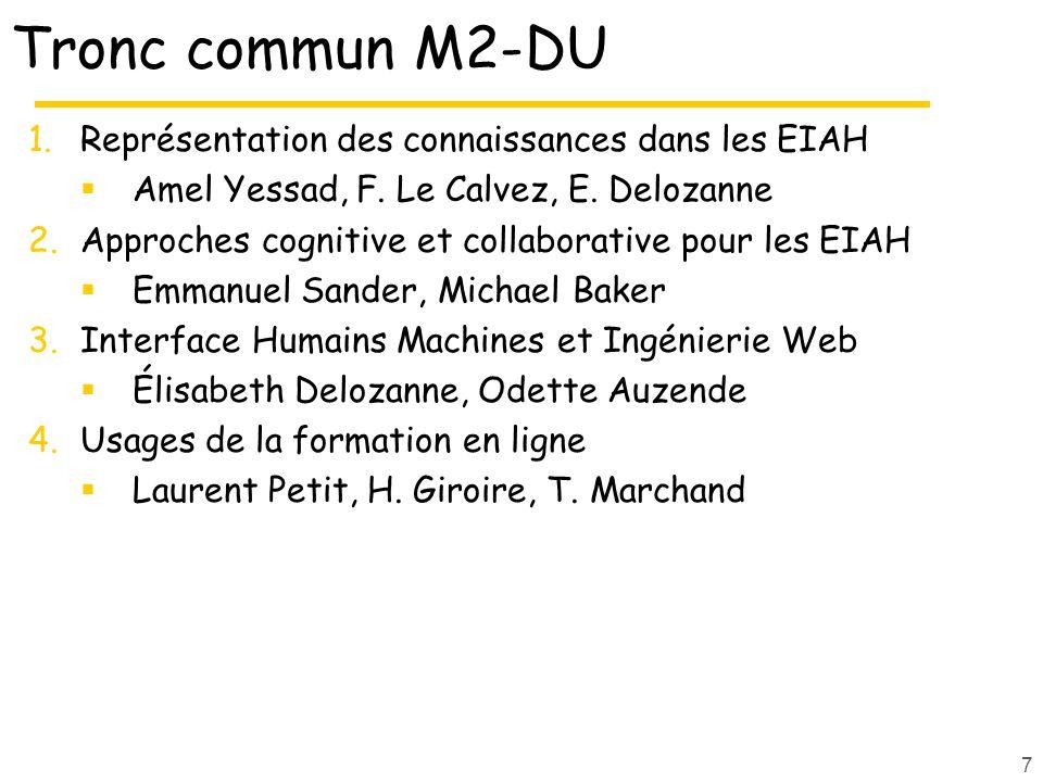 Tronc commun M2-DU 1.Représentation des connaissances dans les EIAH Amel Yessad, F.