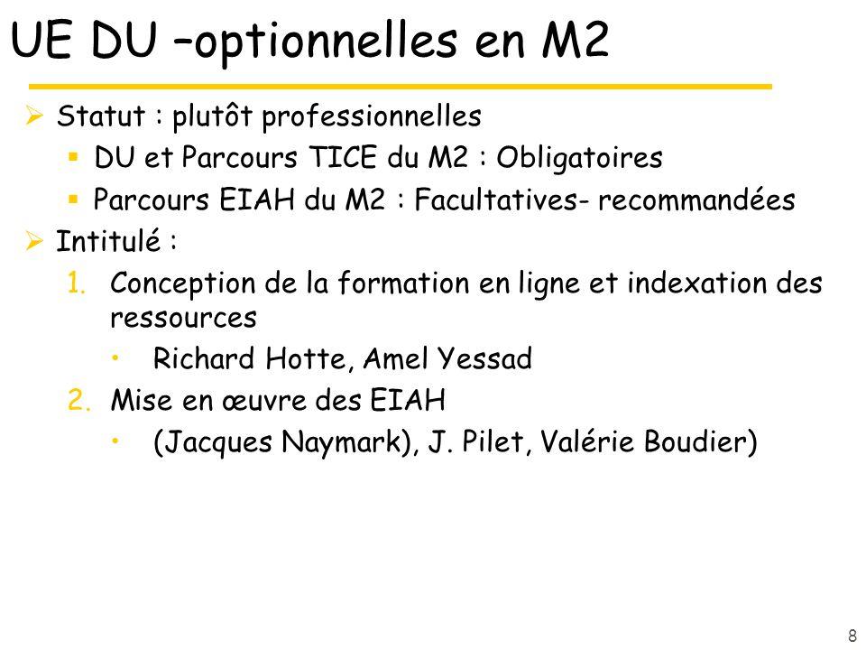 UE spécifiques DU (sans ects) 1.Initiation à Java (facultatif) O.