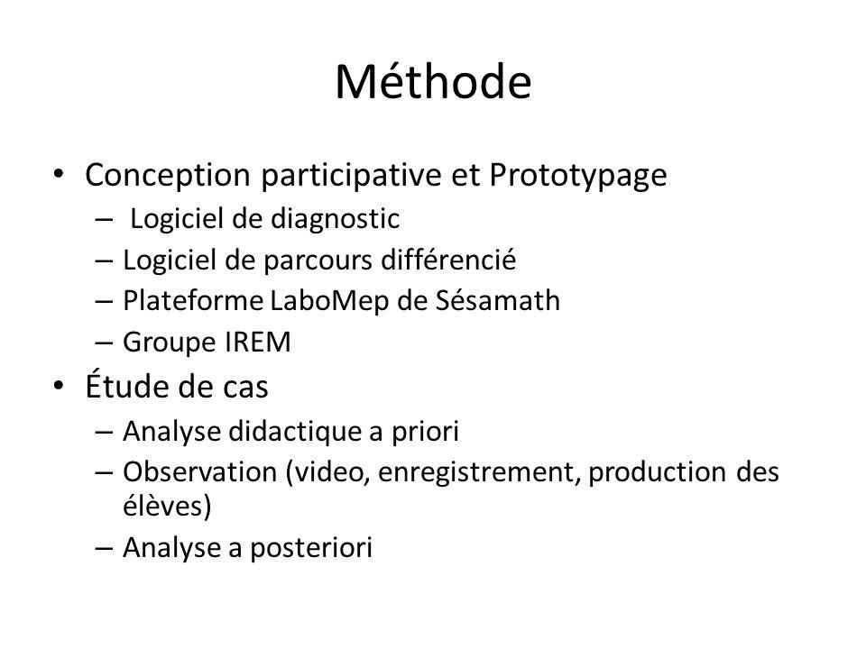 Méthode Conception participative et Prototypage – Logiciel de diagnostic – Logiciel de parcours différencié – Plateforme LaboMep de Sésamath – Groupe