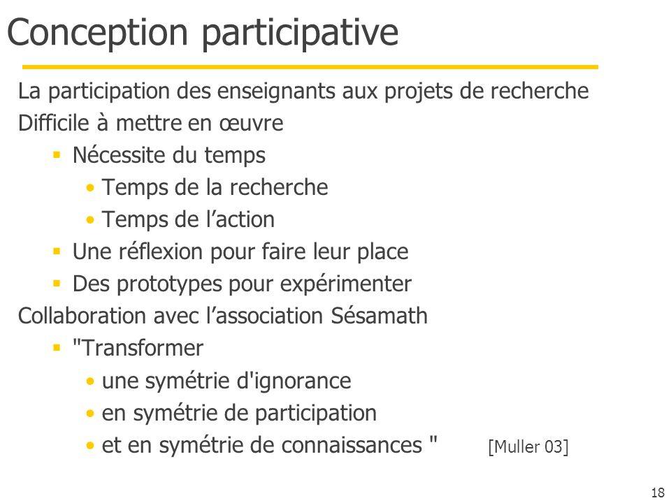18 Conception participative La participation des enseignants aux projets de recherche Difficile à mettre en œuvre Nécessite du temps Temps de la reche