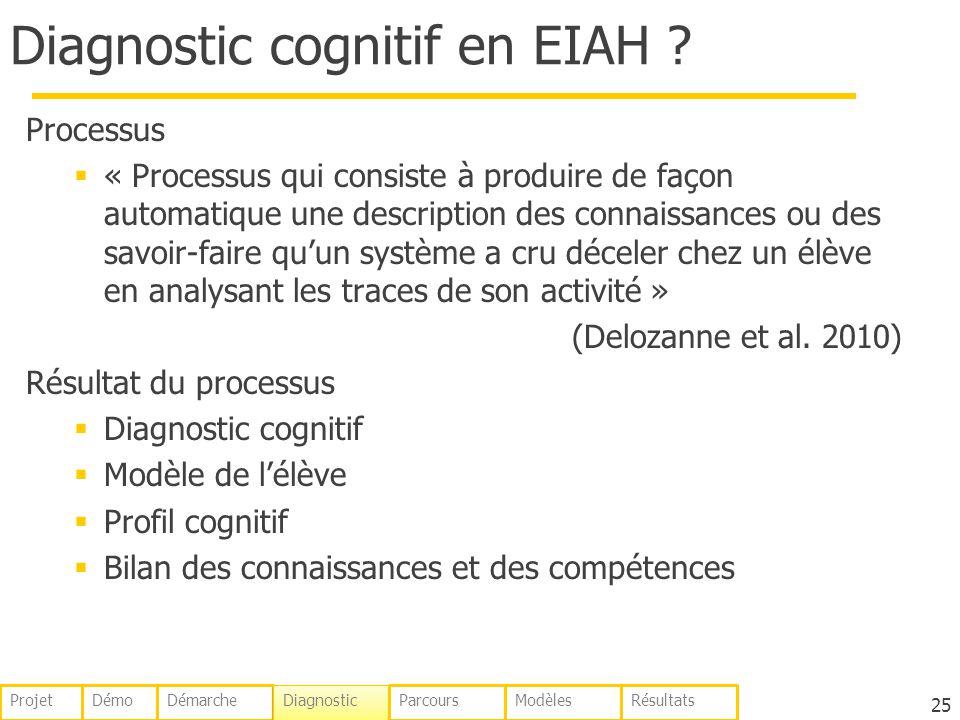 Diagnostic cognitif en EIAH ? Processus « Processus qui consiste à produire de façon automatique une description des connaissances ou des savoir-faire