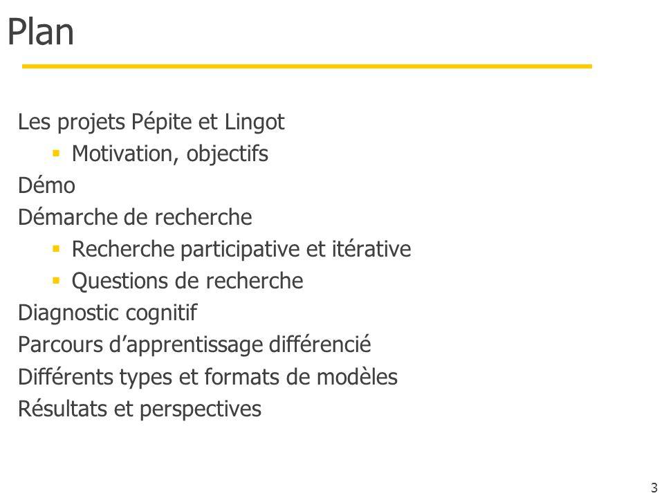 Plan Les projets Pépite et Lingot Motivation, objectifs Démo Démarche de recherche Recherche participative et itérative Questions de recherche Diagnostic cognitif Parcours dapprentissage différencié Différents types et formats de modèles Résultats et perspectives 3
