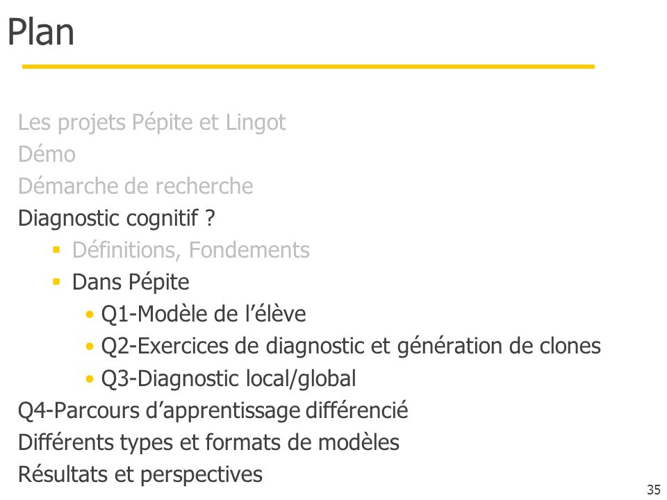 Plan Les projets Pépite et Lingot Démo Démarche de recherche Diagnostic cognitif ? Définitions, Fondements Dans Pépite Q1-Modèle de lélève Q2-Exercice